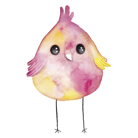 feathery: Watercolor colored little bird.