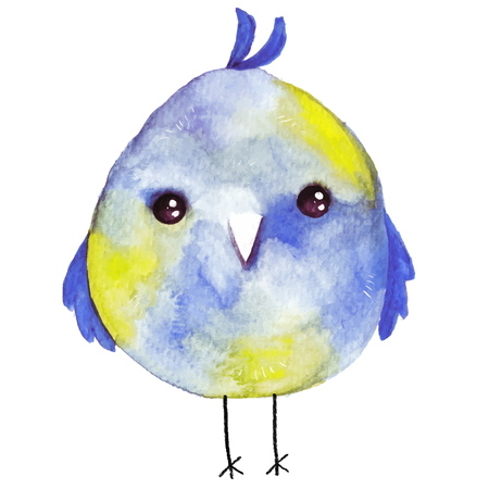 Watercolor colored little bird.