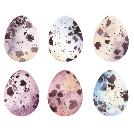 Easter quail eggs. Watercolor illustration.