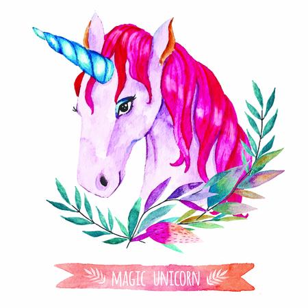 Ilustración del unicornio de la acuarela