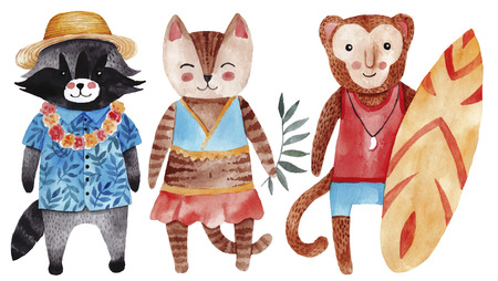 Cute watercolor illustration with cat, raccoon and monkey in summer style. Stock Photo