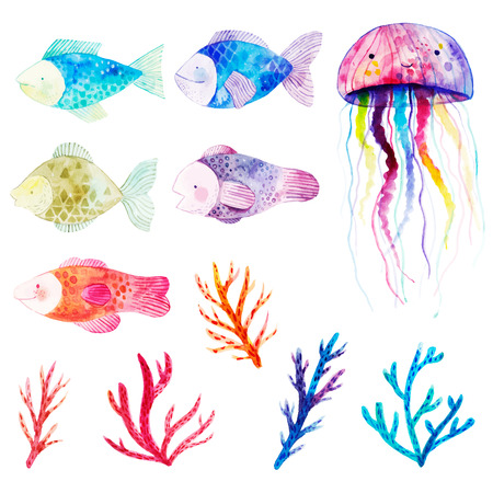 Watercolor set with fishes, seaweeds , corals and jellyfish.