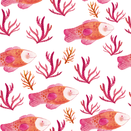 Watercolor seamless pattern with fishes and seaweeds