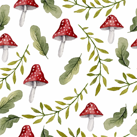 Watercolor seamless pattern with forest elements