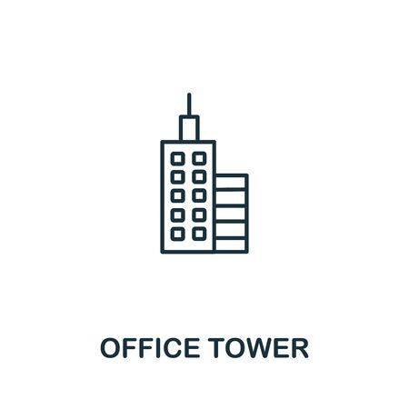 Office Tower icon from office tools collection. Simple line Office Tower icon for templates, web design and infographics.