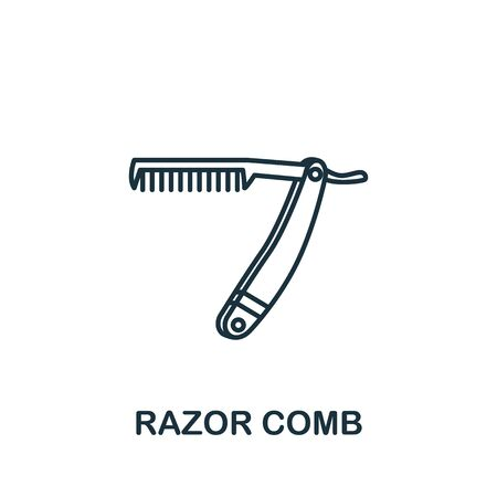 Razor Comb icon from barber shop collection. Simple line element Razor Comb symbol for templates, web design and infographics