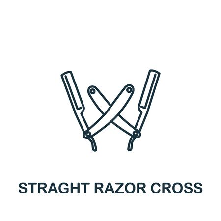 Straight Razors Cross icon from barber shop collection. Simple line element Straight Razors Cross symbol for templates, web design and infographics