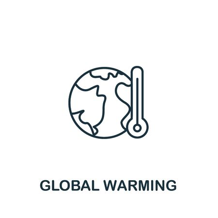 Global Warming icon from clean energy collection. Simple line element Global Warming symbol for templates, web design and infographics.