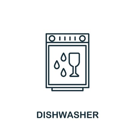 Dishwasher icon from cleaning collection. Simple line element Dishwasher symbol for templates, web design and infographics Çizim