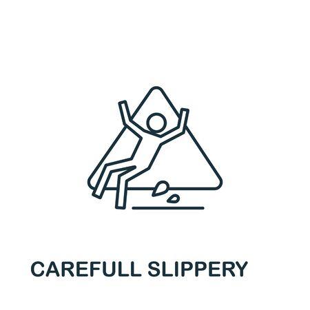 Careful Slippery icon from cleaning collection. Simple line element careful slippery symbol for templates, web design and infographics.