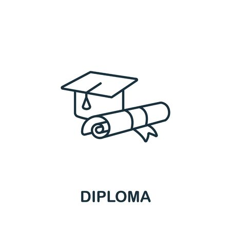 Diploma icon from success collection. Simple line element diploma symbol for templates, web design and infographics. Vektorgrafik
