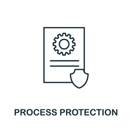 Process Protection icon from cyber security collection. Simple line Process Protection icon for templates, web design and infographics.