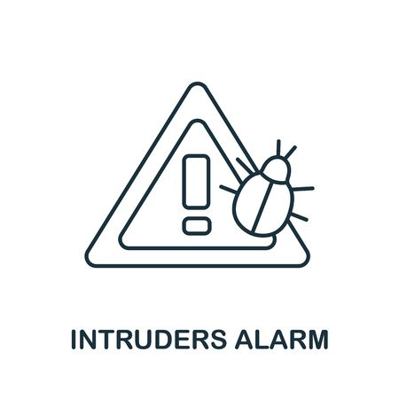 Intruders Alarm icon from cyber security collection. Simple line Intruders Alarm icon for templates, web design and infographics.
