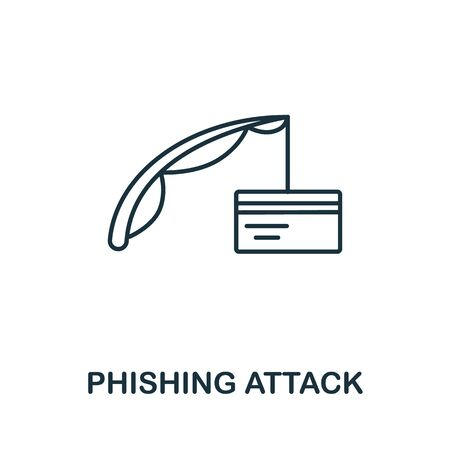 Phishing Attack icon from cyber security collection. Simple line Phishing Attack icon for templates, web design and infographics.