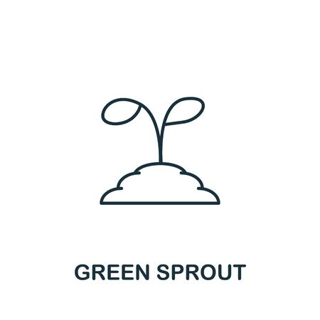 Green Sprout icon from garden collection. Simple line Green Sprout icon for templates, web design and infographics.