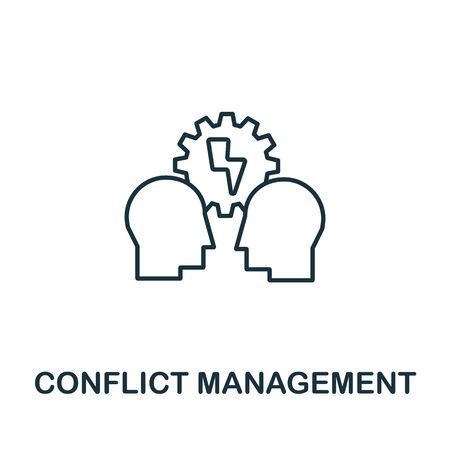 Conflict Management icon from life skills collection. Simple line Conflict Management icon for templates, web design and infographics.