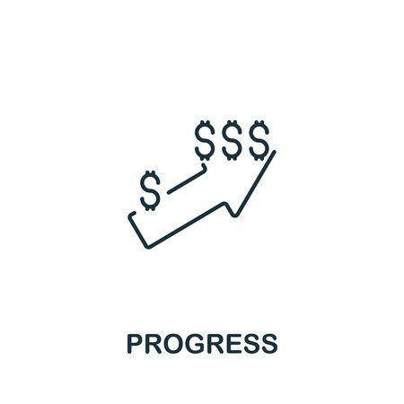 Progress icon from teamwork collection. Simple line element progress symbol for templates, web design and infographics.