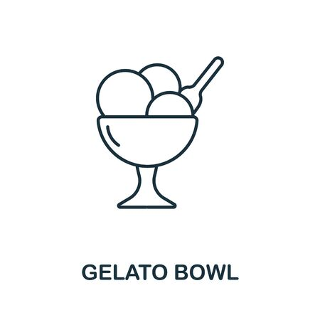 Gelato Bowl icon from italy collection. Simple line Gelato Bowl icon for templates, web design and infographics. Ilustracja
