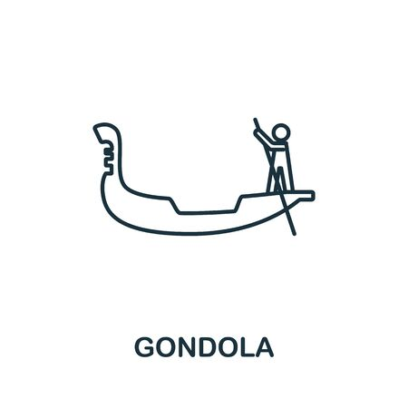 Gondola icon from italy collection. Simple line Gondola icon for templates, web design and infographics. Ilustracja