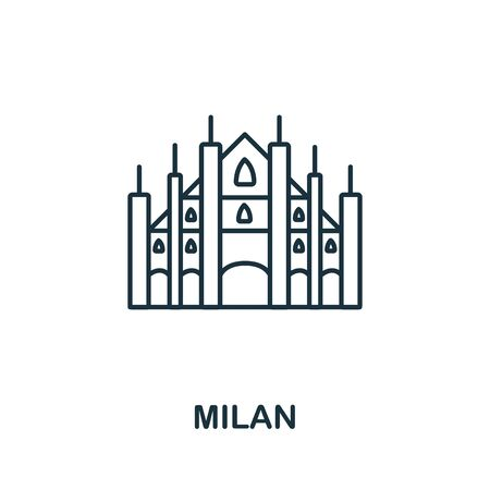 Milan icon from italy collection. Simple line Milan icon for templates, web design and infographics.