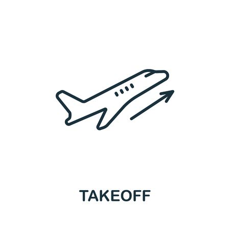 Takeoff icon from airport collection. Simple line Takeoff icon for templates, web design and infographics.