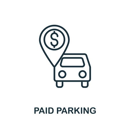 Paid Parking icon from airport collection. Simple line Paid Parking icon for templates, web design and infographics.