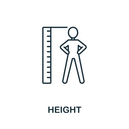 Height icon from health check collection. Simple line Height icon for templates, web design and infographics.