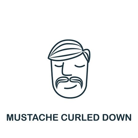 Mustache Swirling Down icon from barber shop collection. Simple line element mustache swirling down symbol for templates, web design and infographics. Imagens