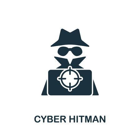 Cyber Hitman icon from banned internet collection. Simple line Cyber Hitman icon for templates, web design and infographics. Stock Photo