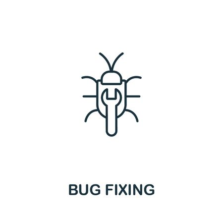 Bug Fixing icon from seo collection. Simple line Bug Fixing icon for templates, web design and infographics.  イラスト・ベクター素材