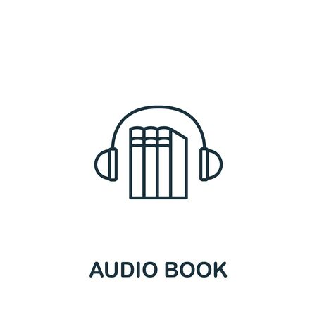 Audio Book icon from e-learning collection. Simple line element audio book symbol for templates, web design and infographics.