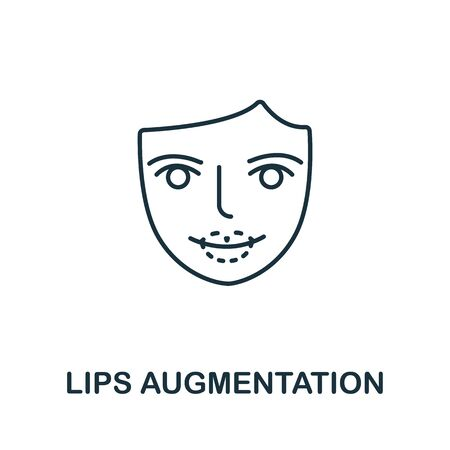 Lips Augmentation icon from plastic surgery collection. Simple line element lips augmentation symbol for templates, web design and infographics.