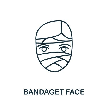 Bandaged Face icon from plastic surgery collection. Simple line element bandaged face symbol for templates, web design and infographics.
