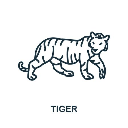 Tiger icon from wild animals collection. Simple line Tiger icon for templates, web design and infographics.