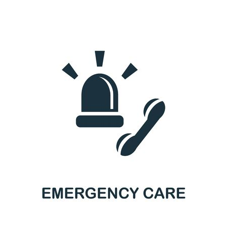 Emergency Care icon set. Four elements in diferent styles from medicine icons collection. Creative emergency care icons filled, outline, colored and flat symbols.