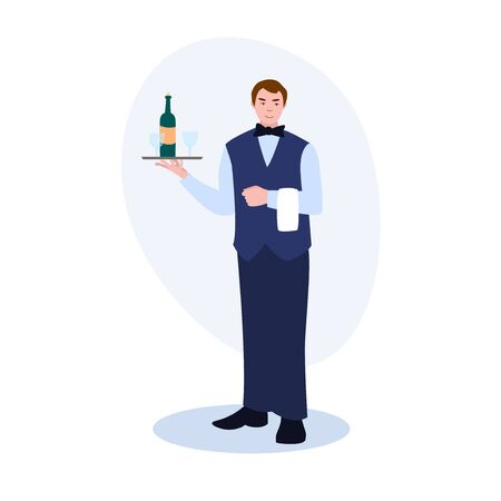 Waiter With Tray A Bottle Of Wine And Glasses vector illustration from professions collection. Flat cartoon illustration isolated on white.