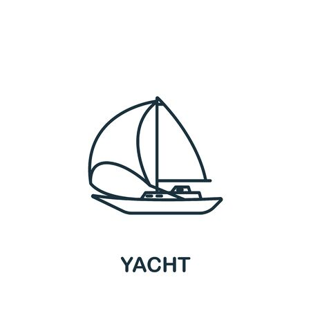 Yacht icon. Simple line element yacht symbol for templates, web design and infographics.