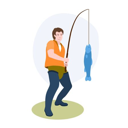 Fisherman With Fishing Rod Catching A Big Fish On The Shore vector illustration from hobbies collection. Flat cartoon illustration isolated on white.