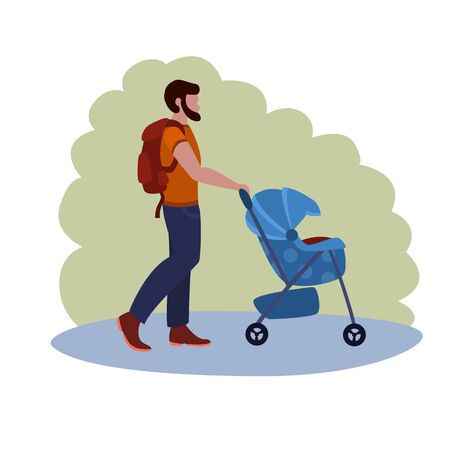 Man Walks With A Stroller In The Park vector illustration from family collection. Flat cartoon illustration isolated on white.