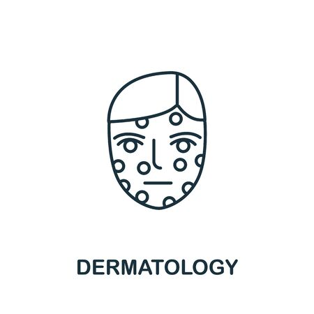 Dermatology icon from medical collection. Simple line element dermatology symbol for templates, web design and infographics. 向量圖像