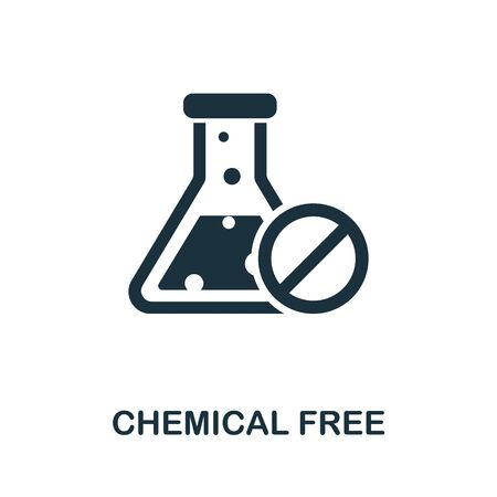 Chemical Free icon from organic farming collection. Simple line Chemical Free icon for templates, web design and infographics. 일러스트