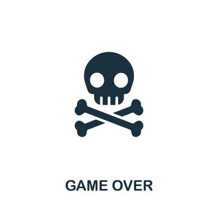 Game Over icon from video games collection. Simple line Game Over icon for templates, web design and infographics. 矢量图像