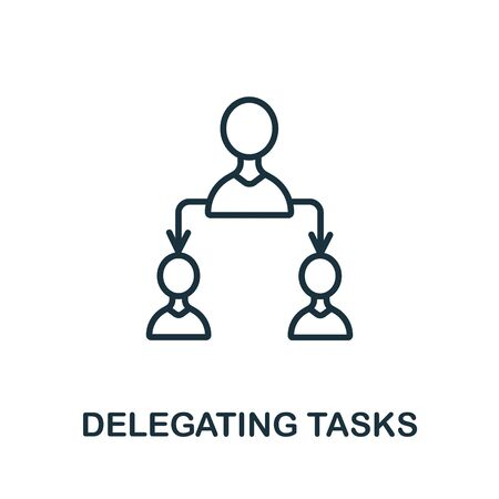 Delegating Tasks icon from production management collection. Simple line Delegating Tasks icon for templates, web design and infographics.