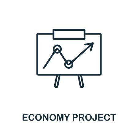 Economy Project icon from business training collection. Simple line Economy Project icon for templates, web design and infographics. Ilustrace