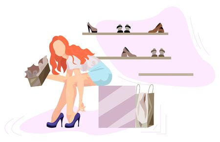 Girl Sits At A Rack With Shoes And Tries On Shoes vector illustration from shopping collection. Flat cartoon illustration isolated on white.