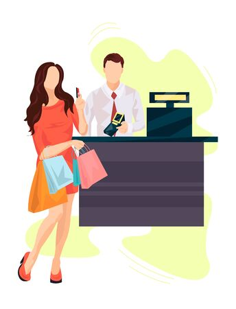 Girl At The Checkout Counter With Several Packages Pays With A Card vector illustration from shopping collection. Flat cartoon illustration isolated on white.
