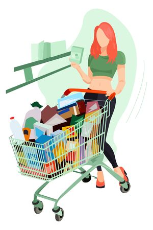 Girl In A Grocery Supermarket With A Trolley vector illustration from shopping collection. Flat cartoon illustration isolated on white.