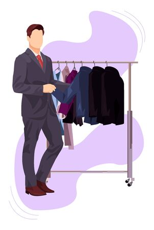 Man Chooses A Suit From The Suit Rack vector illustration from shopping collection. Flat cartoon illustration isolated on white.