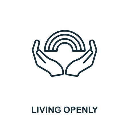 Living Openly icon from lgbt collection. Simple line Living Openly icon for templates, web design and infographics.