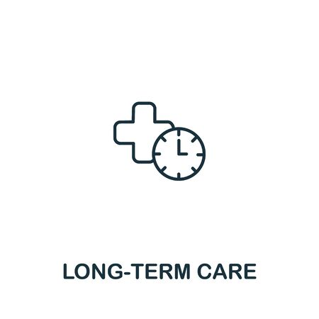 Long-Term Care icon from elderly care collection. Simple line element long-term care symbol for templates, web design and infographics. Çizim